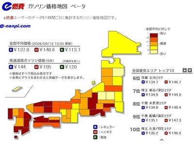 ガソリン価格地図